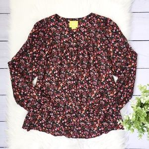Anthro, Maeve Black Pink Floral Button Down Top